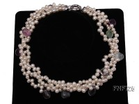Three-strand 6x8mm White Side-drilled Freshwater Pearl Necklace Dotted with colorful Fluorite