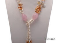 white oval and light champagne freshwater pearl and rose quartz opera necklace