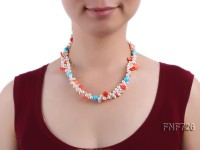 Two-strand 6x7mm White Freshwater Pearl Necklace Dotted with Corals and Turquoise Beads