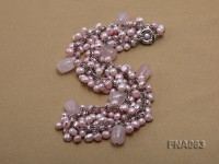 6-7mm Light-pink Freshwater Pearl Necklace with rose quartzl Beads