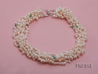 Six-strand White Freshwater Pearl Necklace Dotted with Green Jade Beads