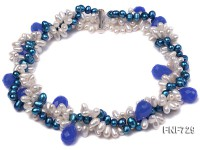Three-strand Azure and White Freshwater Pearl Necklace Dotted with Light-blue Colored Crystal