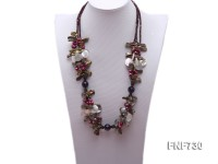 Three-strand Freshwater Pearl, White Seashell Pieces and Faceted Crystal Beads Necklace