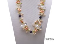 Green and Purple Crystal, Colorful Freshwater Pearl and White Seashell Pieces Necklace