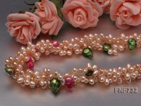Three-strand 4x5mm Pink Cultured Freshwater Pearl Necklace Dotted with colorful Tooth-shaped Pearl