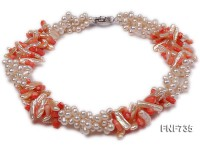 Three-strand White Cultured Freshwater Pearl and Red Coral Necklace