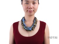Multi-strand Cultured Freshwater Pearl, Blue Crystal and Synthetic Gemstone Necklace