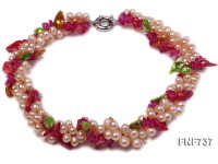 Three-stand 6x7mm Light-pink Cultured Freshwater Pearl and Colored Crystal Necklace
