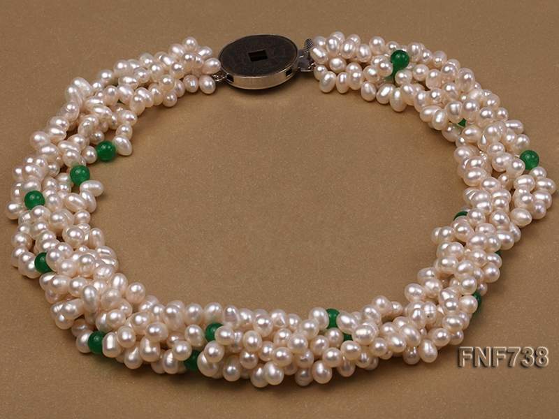 Five-strand 6x7mm White Freshwater Pearl Necklace Dotted with Malaysian Jade Beads