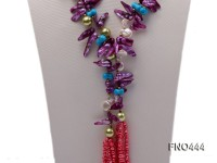 purple tooth-shaped freshwater pearl, seashell pearl and red flat freshwater pearl necklace