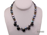 Classic Freshwater Pearl and Faceted Agate beads Necklace with Metal Fittings