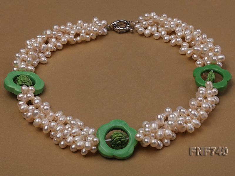 Four-strand 5x7mm White Cultured Freshwater Pearl Necklace with Green Flower-shaped Coral Circle