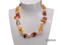 natural white baroque freshwater pearl with tiger eyes quartz and agate necklace
