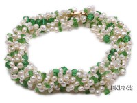Multi-strand 4-5mm Freshwater Pearl and Green Crystal Beads Necklace