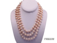 3 strand pink round freshwater pearl necklace with seashell clasp