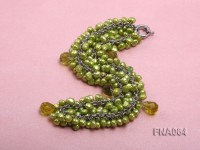 5-6mm Grass-green off-round Freshwater Pearl Necklace with Green Crystal Beads