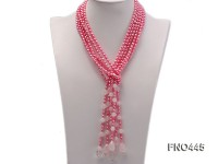 3 strand pink oval freshwater pearl and roae quartz opera necklace