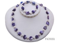 White Freshwater Pearl & Purple Seashell Pieces Necklace and Bracelet Set