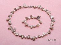 White Freshwater Pearl & Seashell Chips Necklace and Bracelet Set