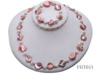 White Freshwater Pearl & Pink Seashell Pieces Necklace and Bracelet Set