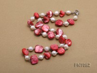 White Freshwater Pearl & Red Seashell Pieces Necklace and Bracelet Set