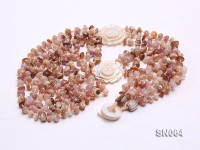 Six-strand Natural Color Shell Necklace Dotted with Carved Shell Flowers