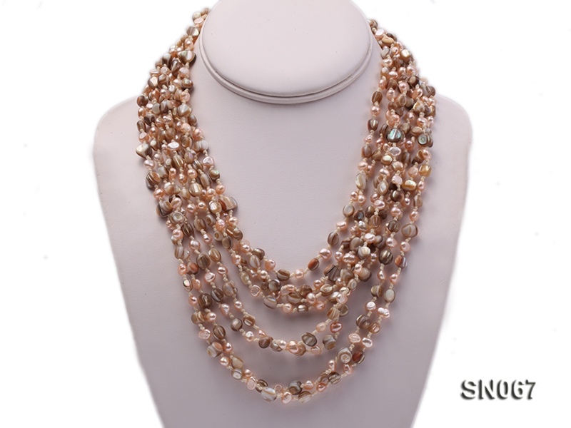 Eight-strand Brown Shell & Pink Freshwater Pearl Necklace