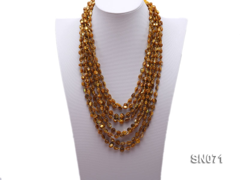 Eight-strand Yellow Shell Necklace