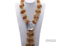 5x6x18mm Citrine and White Crystal and Flower-Shaped Shell Necklace