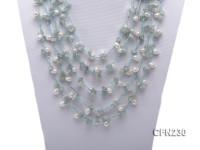 7x9mm White Side-Drilled Pearl and Light Blue Gemstone Necklace