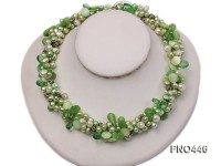 green and white freshwater pearl and crystal opera necklace