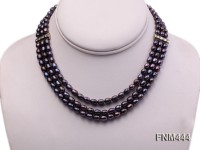 3 strand 5-6mm black oval freshwater pearl necklace