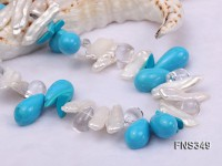 9*22mm natural white biwa freshwater pearl with drop turquoise and white crystal necklace