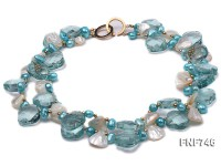 Two-strand Blue Faceted Quartz, Blue Freshwater Pearl, White Shell Pieces and Golden Beads Necklace