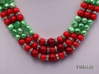 3 strand green reshwater pearl and red round coral necklace