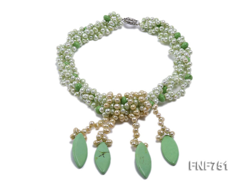 Four-strand Green Freshwater Pearl Necklace with Green Turquoise Pieces