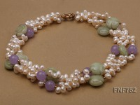 Three-strand 6x8mm White Freshwater Pearl Dotted with Purple Jade Beads and Aventurine Pieces