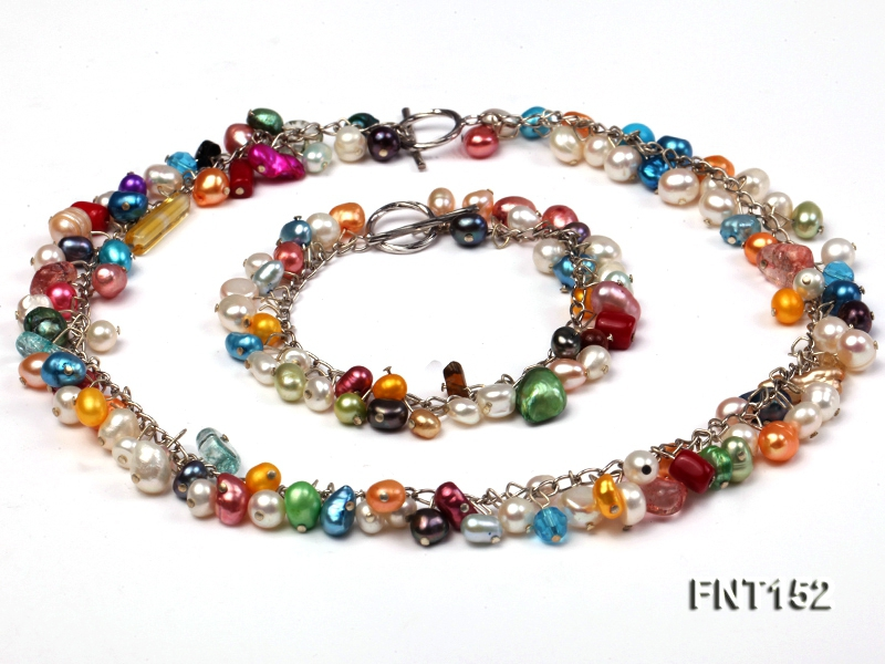 Colorful Freshwater Pearl, Crystal Beads, Turquoise Beads & Coral Beads Necklace and Bracelet Set