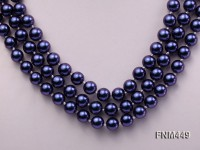 3 strand black round freshwater pearl necklace with cameo clasp