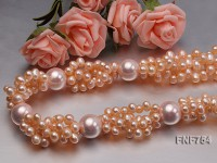 Four-strand 6x7mm Pink Freshwater Pearl Necklace Dotted with 16mm Pink Shell Pearls