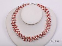 Four-strand 6x8mm White Freshwater Pearl, Red Coral Sticks and Argent Metal Beads Necklace