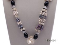 white and black freshwater pearl,seashell and black agate opera necklace