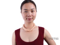 Multi-strand Light-pink Freshwater Pearl Necklace Dotted with Biwa Pearl and Button Pearl