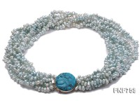 Multi-strand 4.5x5mm Freshwater Pearl Necklace with a Silver Clasp Set with a Piece of Turquoise