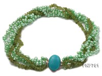 Multi-strand 5x7mm Green Freshwater Pearl and 6x7mm Baroque Olivine Chips Necklace