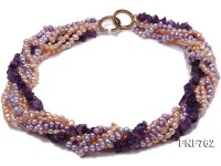 Multi-strand Pink Freshwater Pearl, Purple Freshwater Pearl and Purple Crystal Chips Necklace