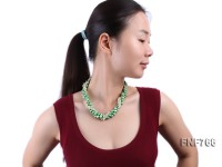 Three-strand 8-9mm Freshwater Pearl and 8x9mm Synthetic Light-green Quartz Necklace