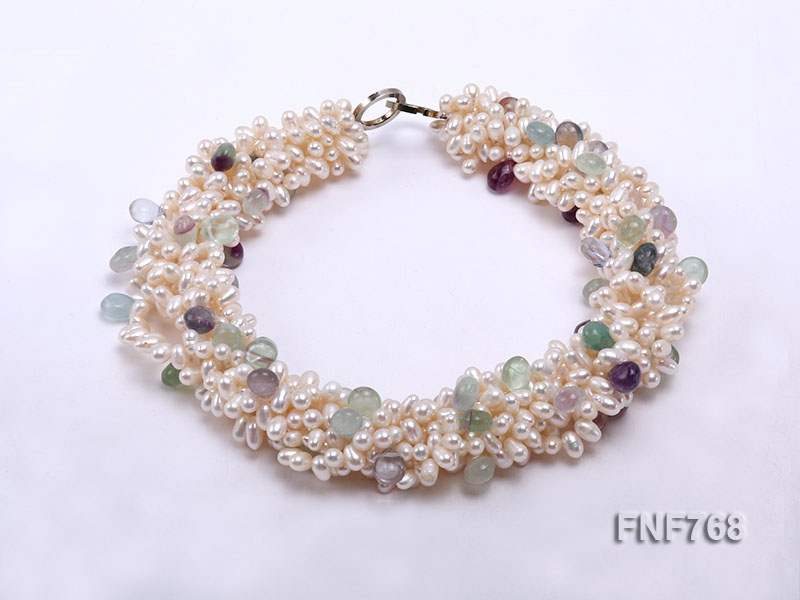 7-strand White Freshwater Pearl and Colorful Fluorite Beads Necklace