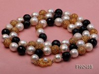 12mm natural white baroque freshwater pearl with carved black agate opera necklace