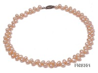 natural 5.5-7mm pink wheat-ear-shaped freshwater pearl single strand necklace